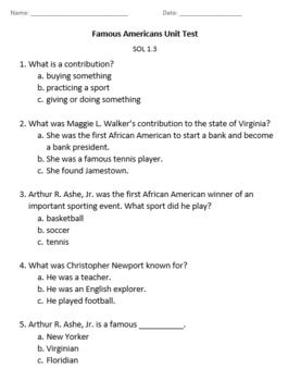 Famous Virginians Quick Checks & Unit Assessment (SOL 1.3)