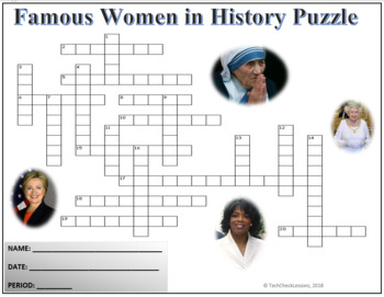 Famous Women in History Crossword Puzzle Activity Worksheet
