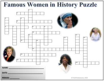 Famous Women in History Crossword Puzzle Activity Worksheet