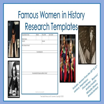 Famous Women in History Research Templates