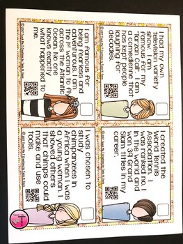 Women in History Scoot or Task Cards With QR Codes FREEBIE