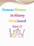 Famous Women in History Word Search Part II