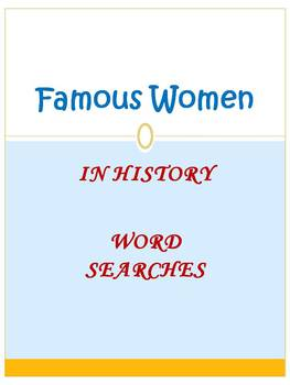 Famous Women in History Word Searches