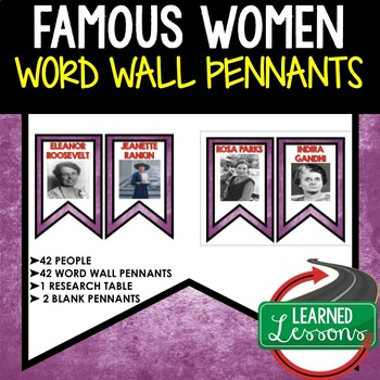 Famous Women in History Word Wall (Women's History Month) 42 Word Wall Pennants
