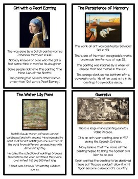 Famous Works of Art Fact Cards