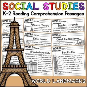 Famous World Landmarks Reading Comprehension Passages (K-2) - Social Studies