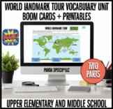 Famous World Landmarks Vocabulary Unit BOOM Cards + Printa