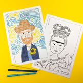 Famous artist coloring pages (Picasso, Matisse, Warhol, Van Gogh, Frida Kahlo)