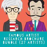 Famous artist research brochure bundle (27 artists) Distan