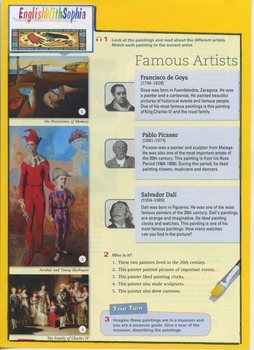 Famous artists: Goya, Picasso and Dali