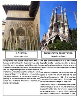Famous landmarks in Spain Photo Cards and Text