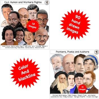 Famous, historical & political figures Clip art portraits GROWING BUNDLE