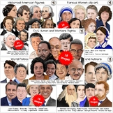 Famous People Clip Art BUNDLE Hand-drawn digital realistic portraits