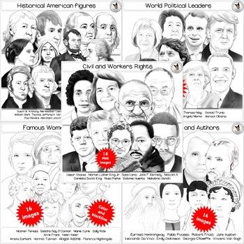 Famous People Clip Art BUNDLE Hand-drawn digital realistic portraits