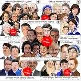 Famous People Clip Art BUNDLE Hand-drawn digital realistic
