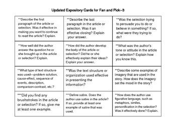 Fan-N-Pick Expository Questions