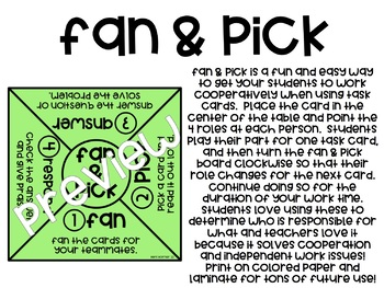 Fan & Pick - Group Task Card Strategy