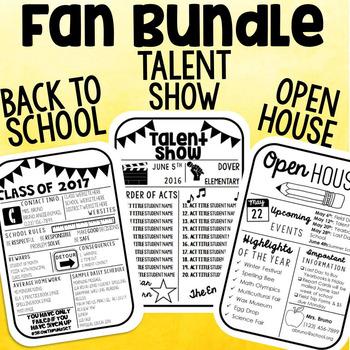 Fan Program Bundle: Back to School, Open House & Talent Show