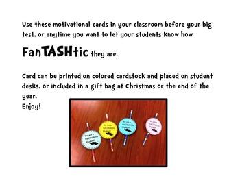 Fan-TASH tic Freebie for Testing  End of School Year or Back to School