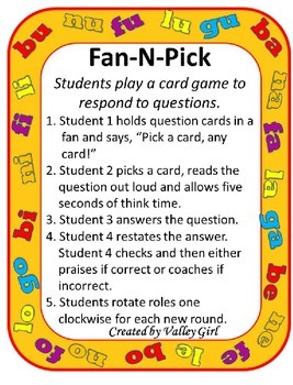 Fan and Pick: Syllables with B, N, L, F, y G