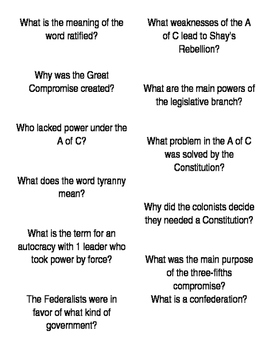 Fan-n-Pick Cards for Unit 2 (Writing the Constitution)