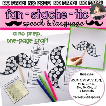 Articulation & Language No Prep Craft: FanSTACHEtic Speech Mustaches
