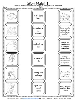 Idiom Word Sort with Matching Worksheets