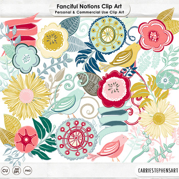 Colorful Flower Clip Art, Floral ClipArt, Whimsical Flowers, Birds, Flourishes