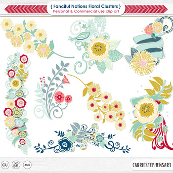 Floral Clusters ClipArt, Retro Flowers, Vintage Colors