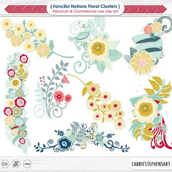 Floral Clusters ClipArt, Retro Flowers, Vintage Colors
