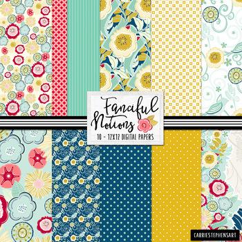 Fanciful Notions Floral Digital Paper, Patterned Vintage K