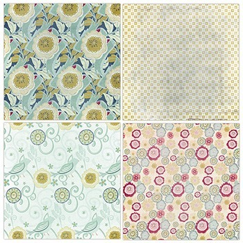 Fanciful Notions Vintage Floral Patterned Digital Paper, Lightly Textured