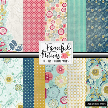 Vintage Floral Pattern Digital Paper, Retro Kitchen Backgrounds, Fanciful Notion