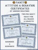 Fancy Attitude & Behavior Certificates