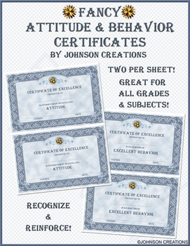 Fancy Attitude & Behavior Certificates