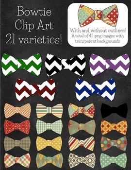 Fancy Bow Ties Clip Art - 21 patterns!