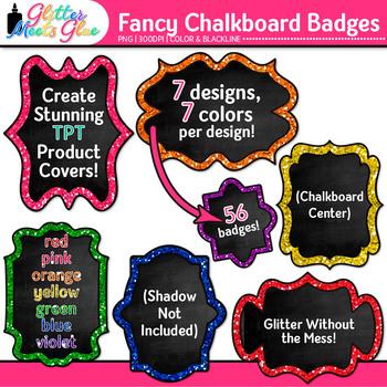 Fancy Chalkboard Frames Clip Art {Rainbow Glitter Labels for Worksheets}