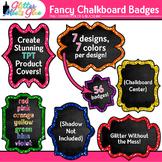 Fancy Chalkboard Frames Clip Art | Rainbow Glitter Labels for Worksheets