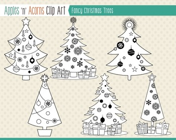 Fancy Christmas Trees Clip Art - color and outlines
