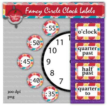 Fancy Circle Clock Labels -Circus Pattern
