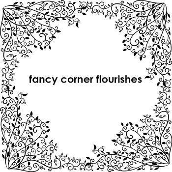 Fancy Corner Flourishes, Elegant Formal Yearbook, Romantic Page Corners