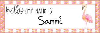 Fancy Flamingos Watercolor Editable Nameplates