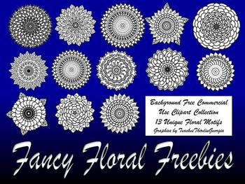 Fancy Floral Freebies! 13 Piece PNG Clipart Set-Stamps