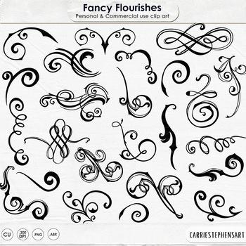 Fancy Ornate Flourishes, Flourish ClipArt, Swirl Ornaments Clip Art