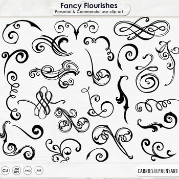 Fancy Ornate Flourishes, Flourish ClipArt, Swirl Ornaments