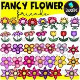Fancy Flower Friends Clip Art Bundle {Educlips Clipart}