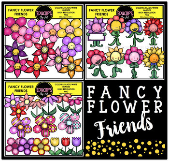 Fancy Flower Friends Clip Art Bundle {Educlips Clipart}