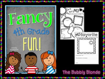 Fancy Fourth Grade Fun-  Fun for the First Week of School