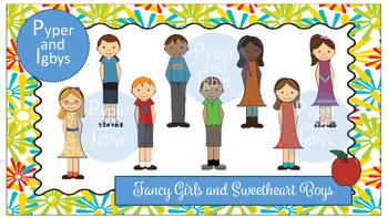 Clip Art: Fancy Girls and Sweetheart Boys