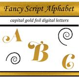Fancy Gold Foil Script Alphabet: Complete Capital Letters Pack